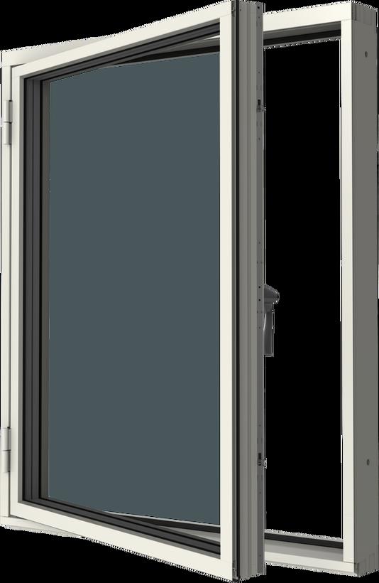 Sidhängt fönster trä/alu, vä, utsida