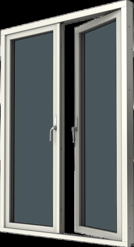 Altanpardörr med originalbåge, trä/alu, utsida