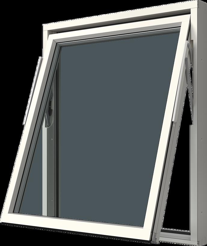 Vridfönster med aluminiumbeklädnad, Utsida, Öppet