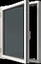 Sidhängt med aluminiumbeklädnad, Utsida, Öppet