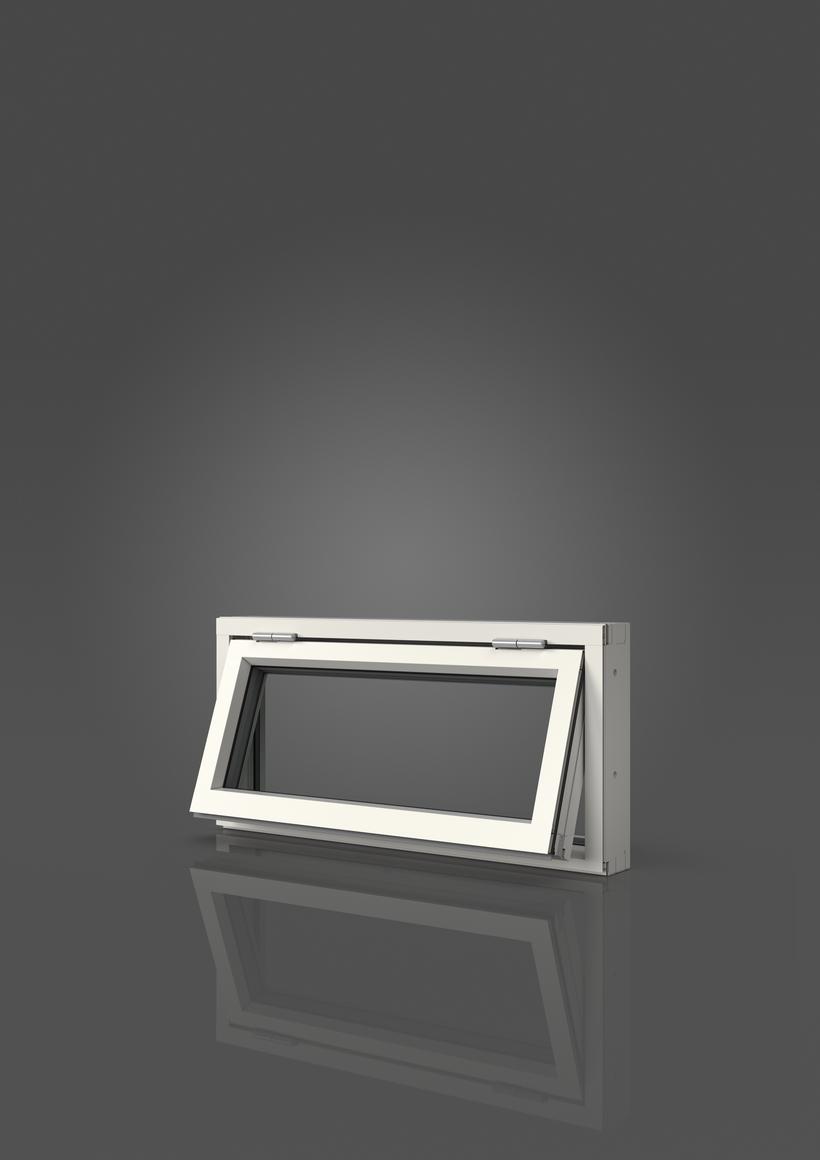 Överkantshängt med aluminiumbeklädnad, Utsida, Öppet