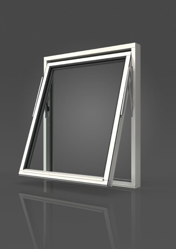 Vridfönster i trä, Utsida, Öppet