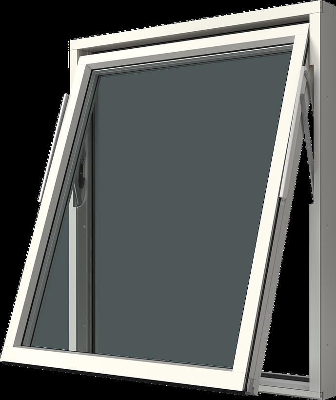 Vridfönster med aluminiumbeklädnad, Utsidan, Öppet