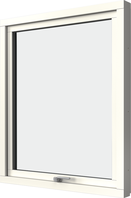 Vridfönster med aluminiumbeklädnad, Insida, Öppet