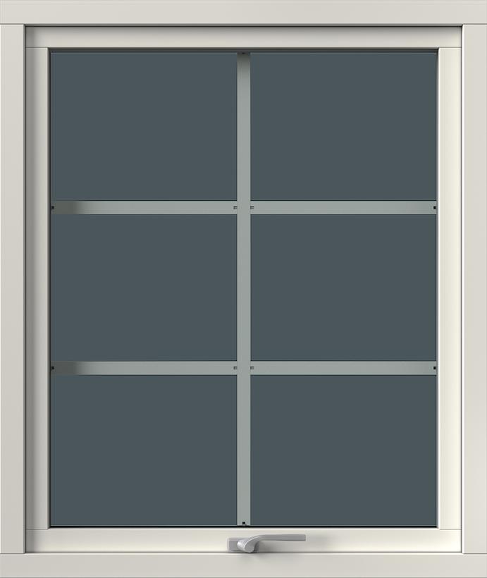 Vridfönster med aluminiumbeklädnad, Insida, Stängt