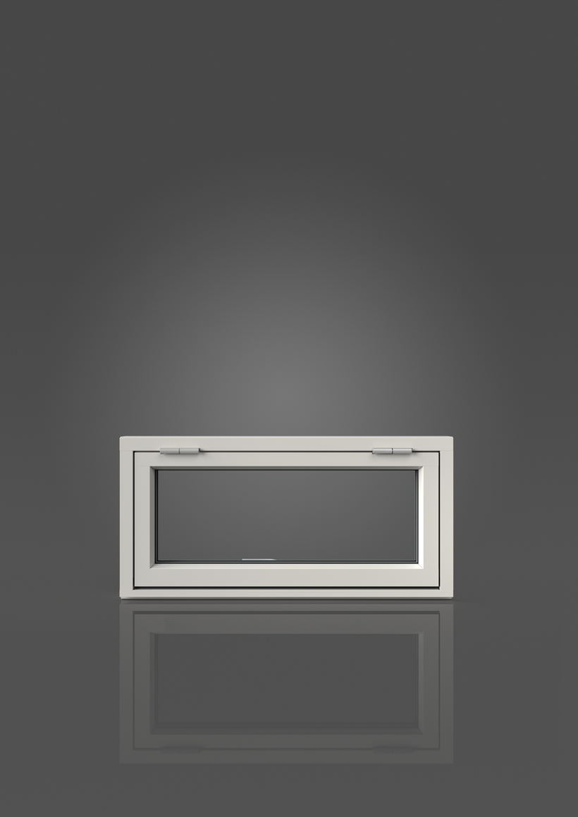 Överkantshängt med aluminiumbeklädnad, Utsida, Stängt