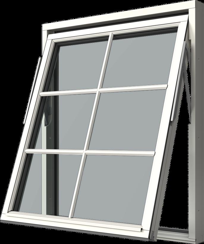 Vridfönster i trä, Utsida, Stängt