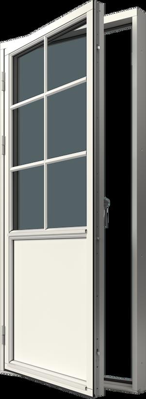 Altandörr i bröstningsutförande i trä, Utsida, Stängt