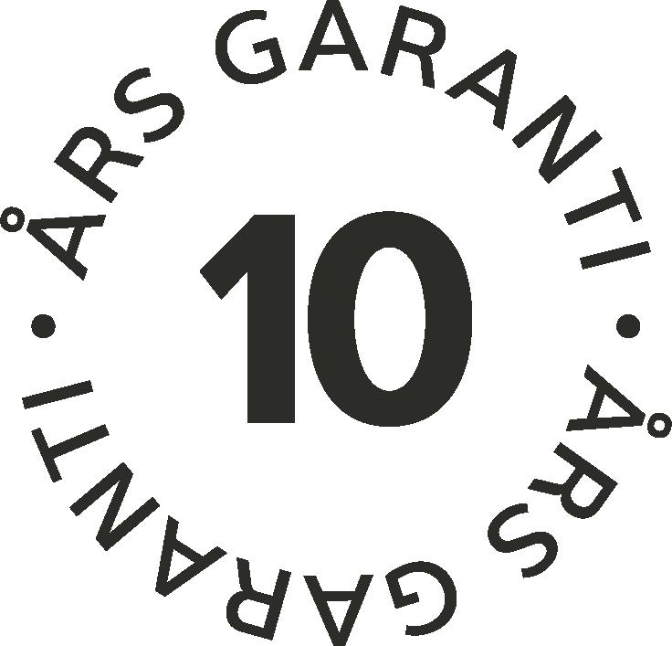 10 års garanti för funktion, glas och röta