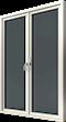 Altanpardörr trä helglasad, vänster gångdörr, utsida
