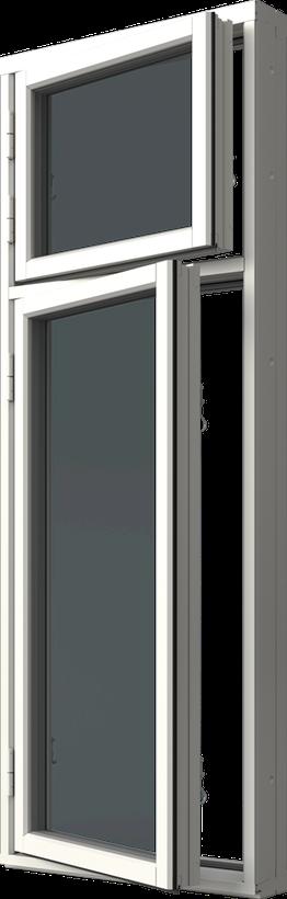 Sidhängt fönster trä/alu, kombi höjdled, vä, utsida