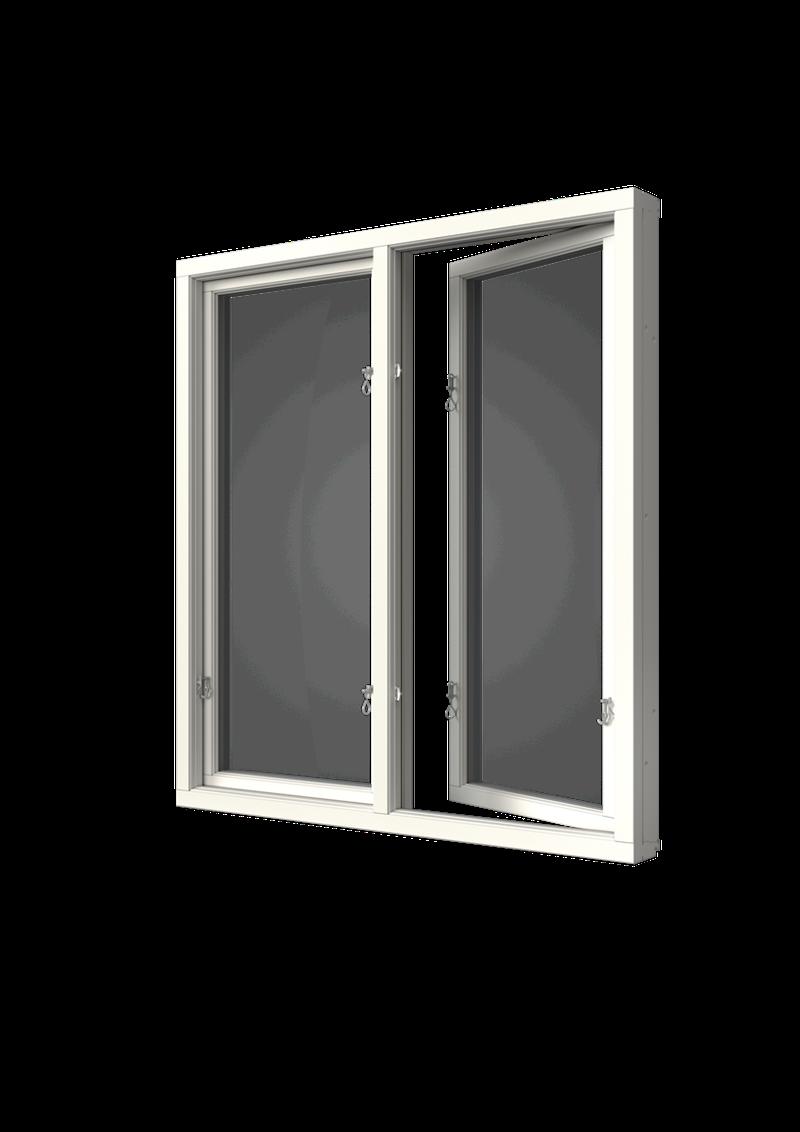 Sidhängt fönster trä/alu 2-luft, insida