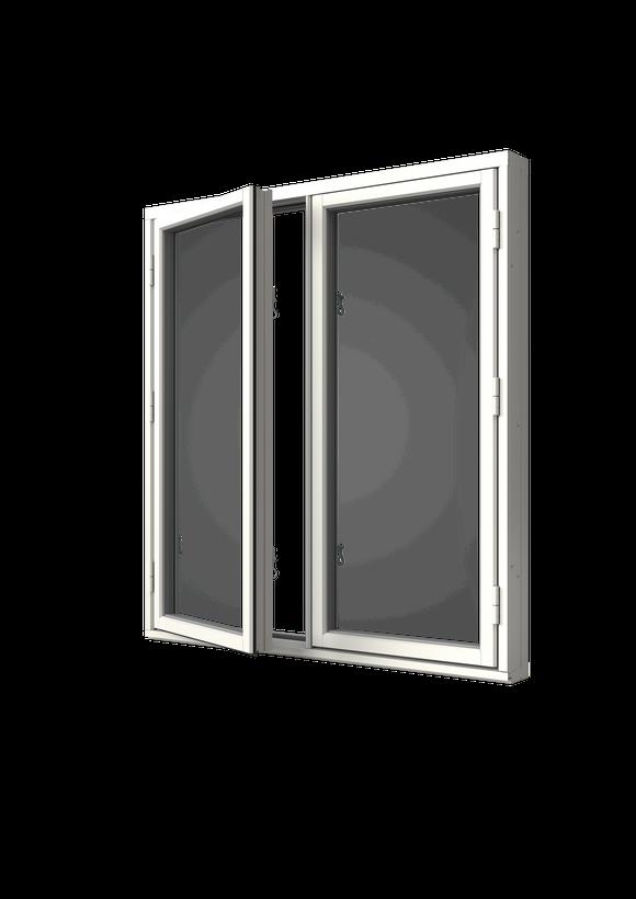 Sidhängt fönster trä/alu 2-luft, utsida