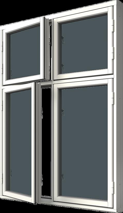 Sidhängt fönster trä/alu 4-luft, kombi höjdled, utsida