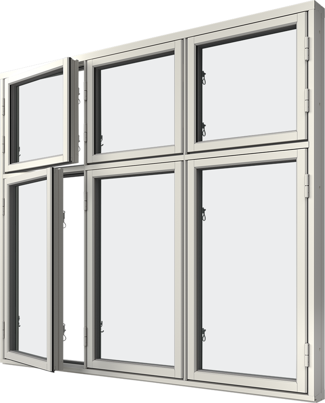 Sidhängt fönster trä/alu 6-luft, kombi höjdled, utsida