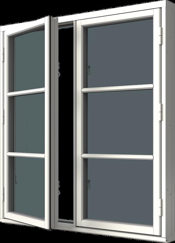 Sidhängt fönster trä/alu 2-luft, två liggande spröjs i varje luft, utsida