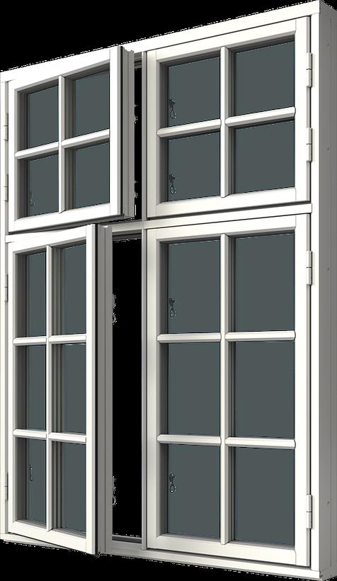 Sidhängt fönster trä/alu 4-luft, kombi höjdled, två liggande en stående spröjs i underdel, en liggande en stående spröjs i överdel, utsida