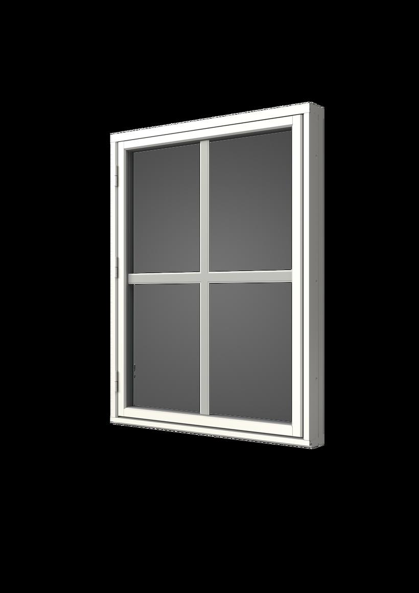 Sidhängt fönster trä/alu, en liggande en stående bred mellanglasspröjs, utsida