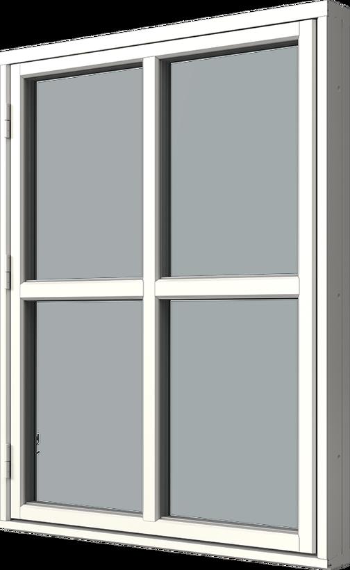 Sidhängt fönster trä/alu,  en liggande en stående glasdelande post, vä, utsida