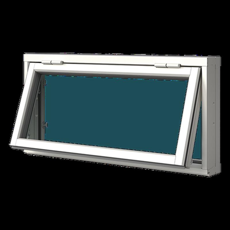 Överkantshängt fönster trä/alu, utsida