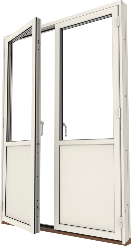 Altanpardörr trä/alu, vänster gångdörr, utsida