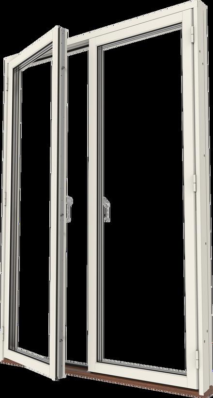 Altanpardörr trä/alu helglasad, vänster gångdörr, utsida