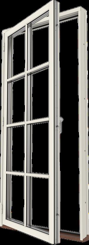 Aluminiumbeklädd MFD-AL Helglas SP3-1 Utsida Öppet