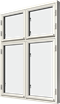 Sidhängt fönster trä kombi höjdled 4-luft, utsida