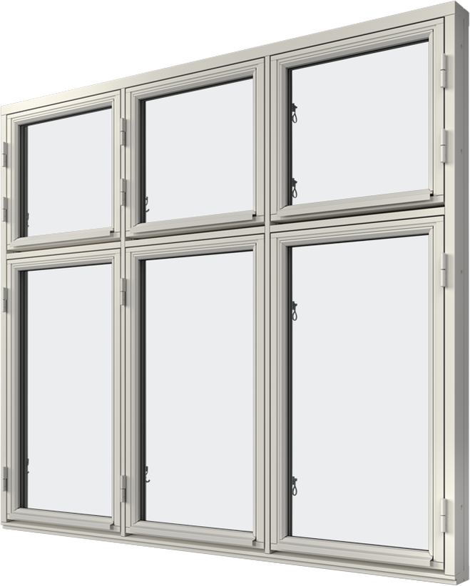 Sidhängt fönster trä kombi höjdled 6-luft, utsida